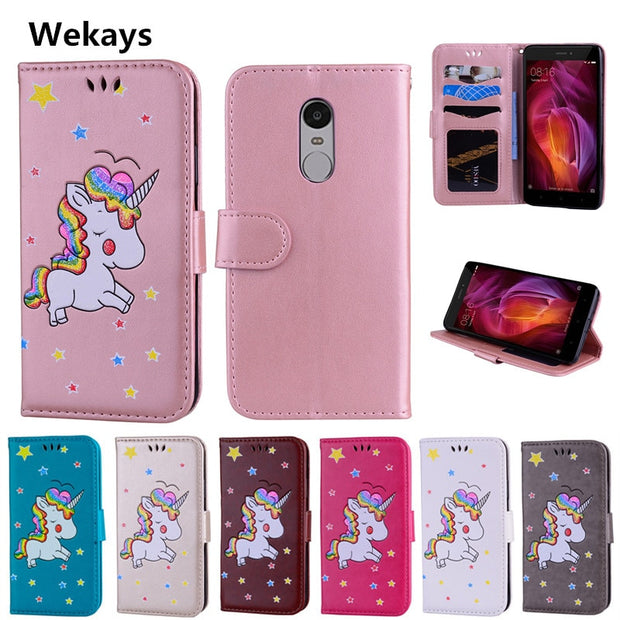 Cartoon Unicorn Flip PU Leather Wallet Cases Coque SFor Xiaomi Redmi Note 3/Redmi Note 4/Redmi Note 4 Pro Phone Bag Cover Case