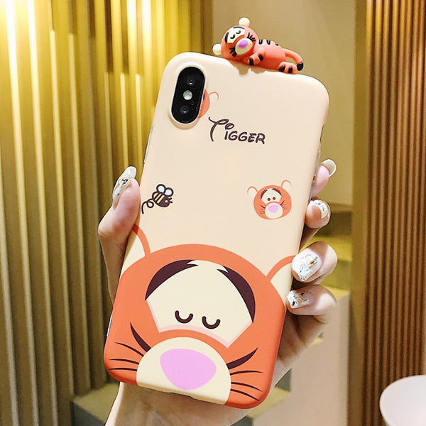 detailed look 3b98a 810f6 Cartoon Doll Winnie Pooh Tigger Phone Case For IPhone X XS MAX XR  All-inclusive Anti-fall Soft Cover For IPhone 7 8 6s Plus Case