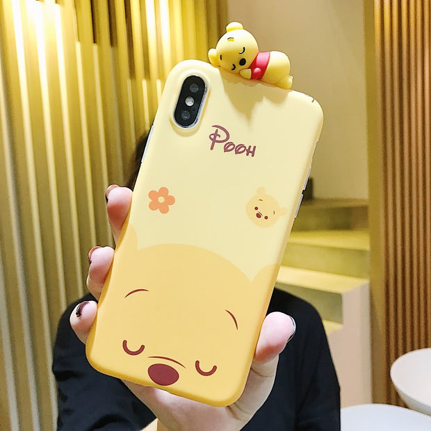 Cartoon Doll Winnie Pooh Tigger Phone Case For IPhone X XS MAX XR All-inclusive Anti-fall Soft Cover For IPhone 7 8 6s Plus Case