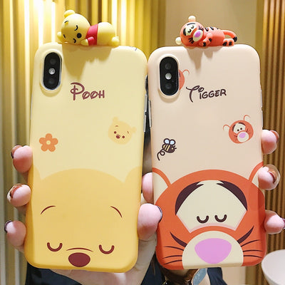 Cartoon Doll Winnie Pooh Tigger Phone Case For IPhone X XS All-inclusive Anti-fall Soft Back Cover For IPhone 7 8 6s 6 Plus Case