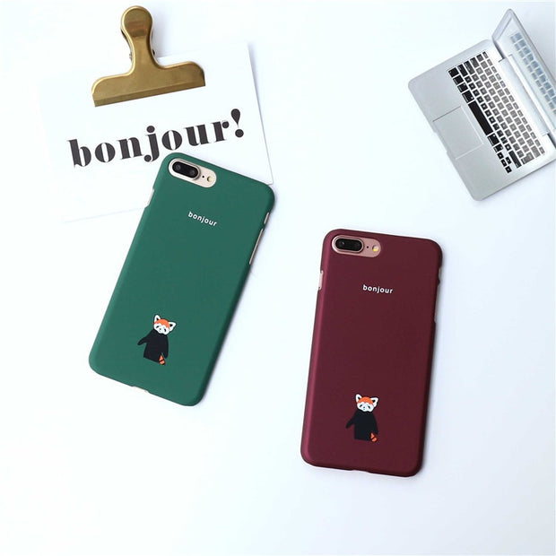 Cartoon Fox Phone Case French Bonjour Red&Green Cute Hard PC Cover For IPhone 6 6splus 7 7plus 8 8plus Coque For Iphone 7 6 S