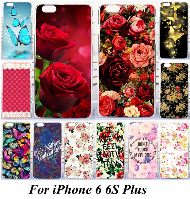 Case For IPhone6 Plus Rose Flowers Butterfly Painted PC Plastic Phone Case Cover For Apple IPhone 6 6S Plus For IPhone 7 7 Plus