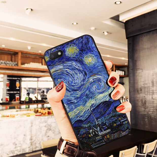Case Xiaomi Redmi 6A Case Silicone Soft Cover For Xiomi Redmi 6A 6 A Van Gogh Cat Case For Redmi 6 Pro Case For Redmi 6 Cover