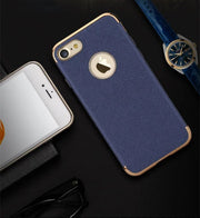 Case For IPhone 7 Leather Grain Back Luxury Cover Case For Apple IPhone 7 Grain Slim Fashion Phone Case 4.7/5.5 Inch
