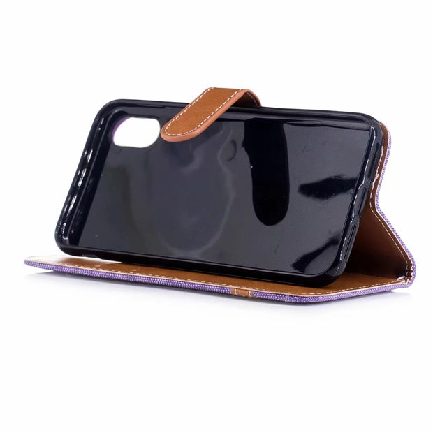 Colorblock Denim PU Leather Case For IPhone XS MAX XR 6 6S 7 8 Plus X Flip Case Card Slot Stand Wallet Cover Phone Shell