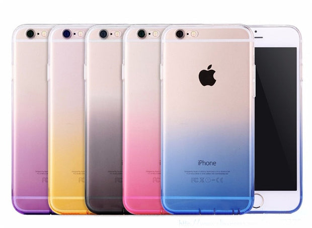 Colorful Gradient Transparent Soft TPU Gel Phone Case For IPhone 8 7 SE 5 5s For IPhone 6 6s Plus 8 7plus Back Cover Capa Para