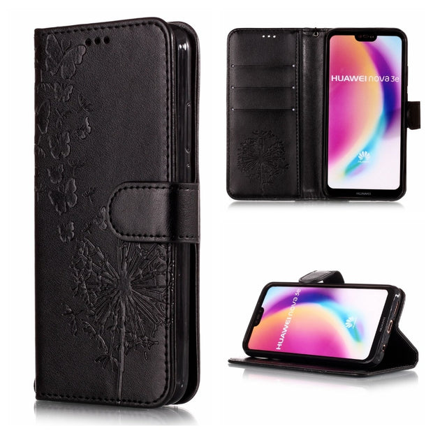 Coque Dandelion Embossed Floral Case For Huawei P20 Pro PU Leather Flip Wallet Phone Case For Huawei P20 Lite Cover