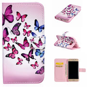 Coque For Samsung Galaxy S6 Edge & G9250 Leather Bags Wallet For Galaxy S6 Edge Cover Beautiful Butterfly Plum Silicone Cover