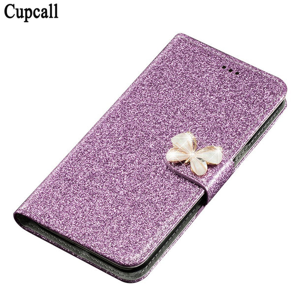 Cupcall Case For Asus Zenfone Max ZC550KL 5.5inch Flip Wallet Case Phone Coque PU Leather With Diamonds And Butterflies