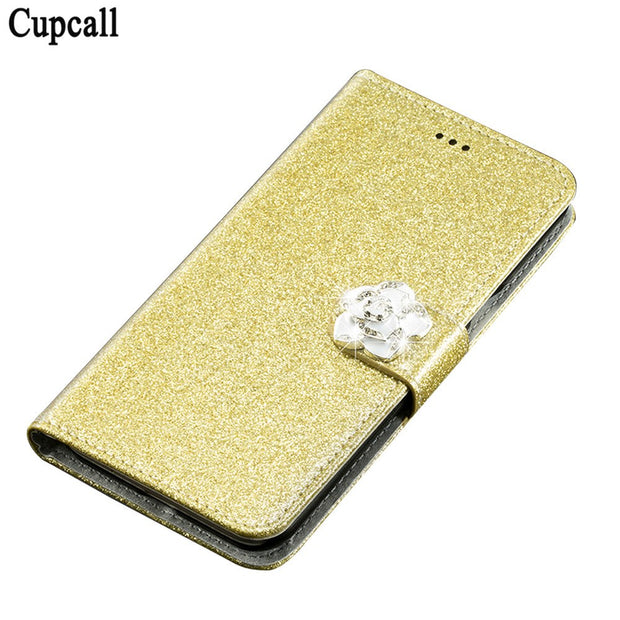 Cupcall Case For Samsung Galaxy J7 (2016) J710 J710F Flip Wallet Case Phone Coque PU Leather With Diamonds And Butterflies
