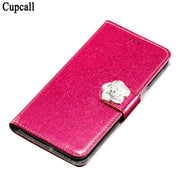 Cupcall Case For Wileyfox Spark Flip Wallet Cover Phone Coque PU Leather With Diamonds And Butterflies