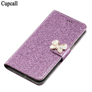 Cupcall Cover Luxury Glitter Wallet Case For Huawei Y6 II / Y6II 2 PU Leather Flip Cover Magnetic Fashion Cases Kickstand Strap