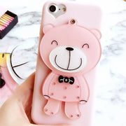 Cute 3D Cartoon Bear Mirror Case For Iphone 7 6 6s Soft Silicone Back Cover Makeup Phone Cases For Iphone 6 6s Woman's Case