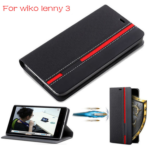 "DIYABEI Wallet Case For Wiko Lenny 3 Flip Cover PU Leather Stand Phone Bags Cases For Wiko Lenny 3 5.0"" Cover"