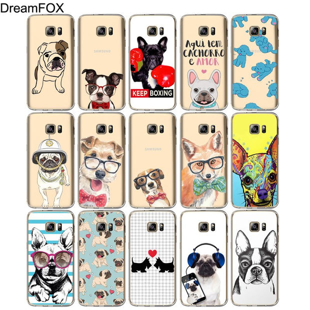 DREAMFOX M548 Pretty Dog Soft TPU Silicone Case Cover For Samsung Galaxy Note S 3 4 5 6 7 8 9 Edge Plus Grand Prime