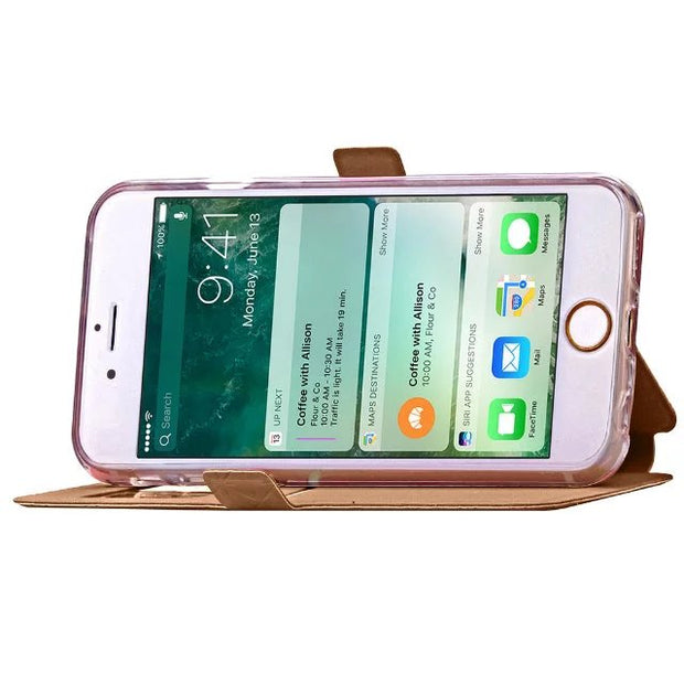 Display View Window Case For IPhone 7 8 Plus Fashion Cell Phone Bag Flip Stand Cover For IPhone 7 Plus With Magnetic Card Holder