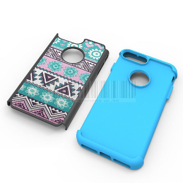 Dual Layer Armor Case Tribal Totem Printed Soft Rubber & Hard PC Back Shockproof Cover With Films For Apple IPhone 7/7 Plus