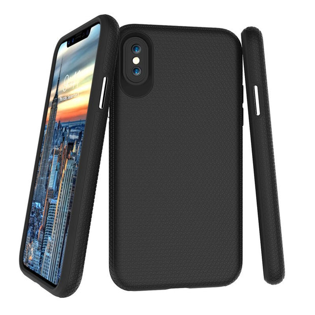 Dual Layer Shockproof Grip Hybrid Hard PC Back Soft TPU Raised Edge Shock Absorption Protective Case For IPhone X