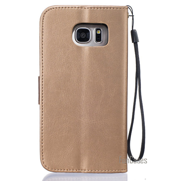 "Embossed Case For Coque Samsung Galaxy S7 Edge Case For Fundas Samsung S7 Edge Cover Case G9350 5.5"" + Stand Card Holder"
