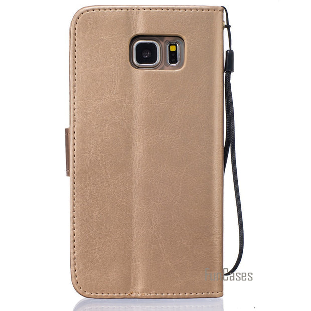 Embossed Flip Case For Fundas Samsung Galaxy Note 5 Cover Case Note 5 V N9200 N920 For Coque Samsung Note 5 Case + Card Holder