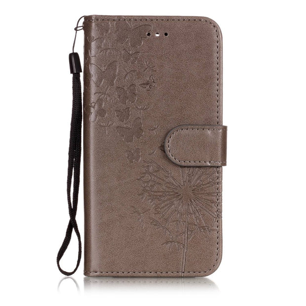Embossed Floral Leather Wallet Case For LG K10 2018 Flip Cover For LG K8 2018 Phone Case With Strap