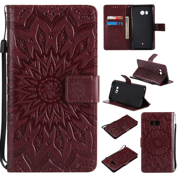 FGHGF Case For HTC U11 With Stand Card Slot Phone Case Cover For HTC U 11 Shell Sunflower Emboss Flip Leather Cases