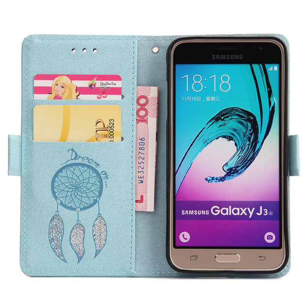 FKISSME Glitter Dream Catcher Wallet PU Leather Case For Samsung Galaxy J3 2016 J310 Cover Stand Flip Case For Samsung J3 2015