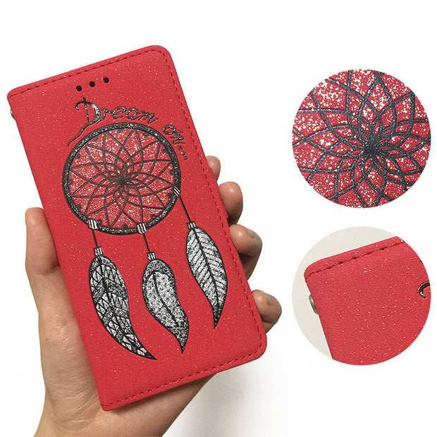 FKISSME Luxury Glitter Dream Catcher Wallet PU Leather Case For Huawei P8 Lite Phone Cover Stand Flip Case For Huawei P8 Lite