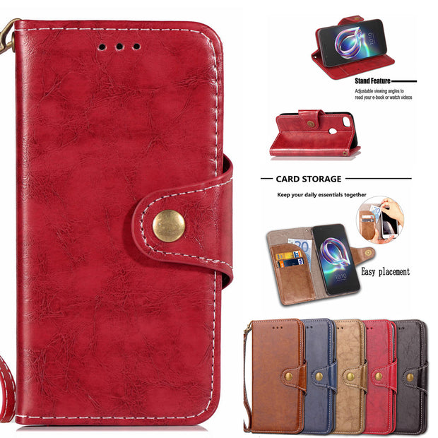 FQYANG Vintage Flip Phone Case For ALCATEL Idol5 Magnetic Wallet Flip PU Leather Stand Case For ALCATEL Idol 5 Cover Card