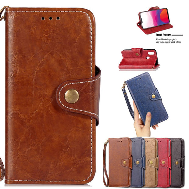 FQYANG Vintage Flip Phone Case For VIVO X21 Magnetic Wallet Flip PU Leather Stand Case For VIVO X21 Cover Card