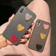 Fabric Cotton Made Woman Fashion Phone Case For Iphone 6S 7 8 Plus Cutey 3D Loving Heart Back Cover For Iphone X 7 8 Plus Cases