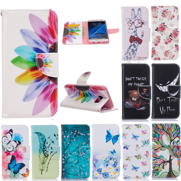 Fancy Pattern Wallet Case For Samsung Galaxy S3 S4 S5 S6 S7 Edge Note 3 III 4 Core Grand Prime PU Flip Phone Cover W Card Slots