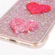 Fashion 3D DIY Bling Glitter Powder Love Heart Phone Case Soft Tpu Cover For Apple Iphone X 7 8 6 6s Plus Capa Coque