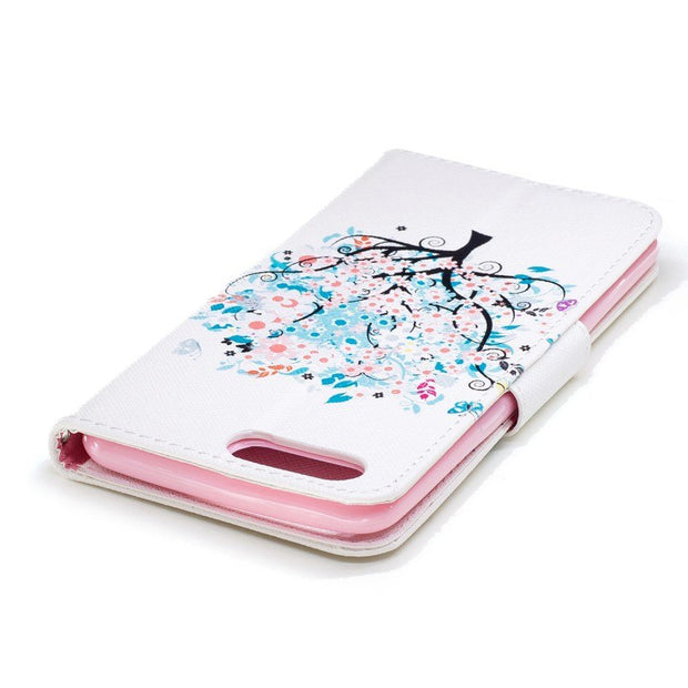 Fashion Cute Cartoon Tree Flower Wallet Card PU Leather Protective Flip Cover Stand Case For Oneplus 5 Oneplus5 With Pen