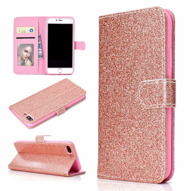 Fashion Shiny Glitter Wallet PU Leather Card Phone Case For IPhone 6 6s 7 8 Plus X Flip Cover Pouch Slot Protective Shell Funda