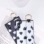 Fashion Square Wristband Case For IPhone X 6 6S 7 8 Plus Black White Love Heart Soft Silicon Round Dot Waves Patterned Cover