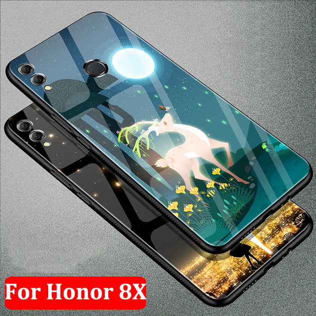 Fashion Tempered Glass Back Case For Huawei Honor 8X Protective Cases For  Huawei Honor 8 X Case Shell Honor8X Coque Fundas