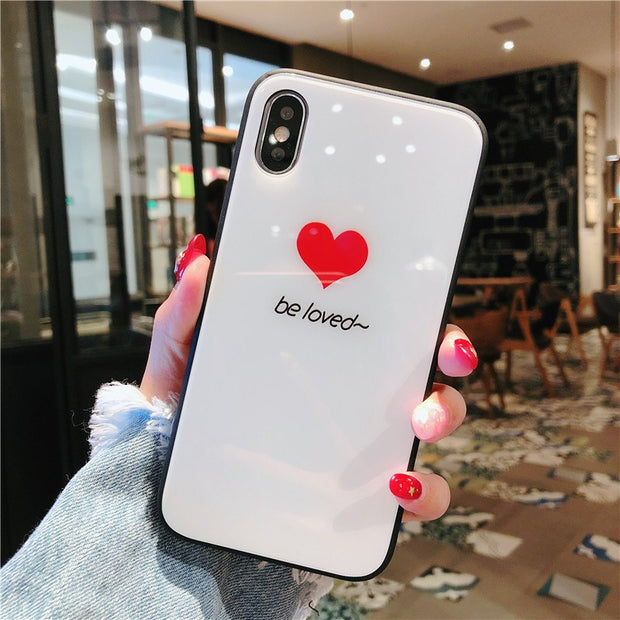 Fashion Tempered Glass Phone Case For Xiaomi MI A2 Love Pattern Case Back Cover For Xiaomi MI A2