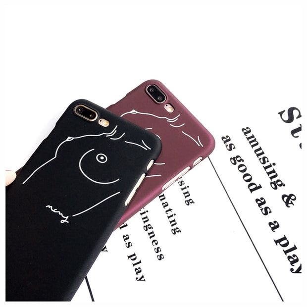 Fashion Sexy Body Line Curve Sketch Hard Matte PC Phone Case For Iphone 5 5s Se 6 6s 7 8 Plus Girl Wine Red Black Cover Coque