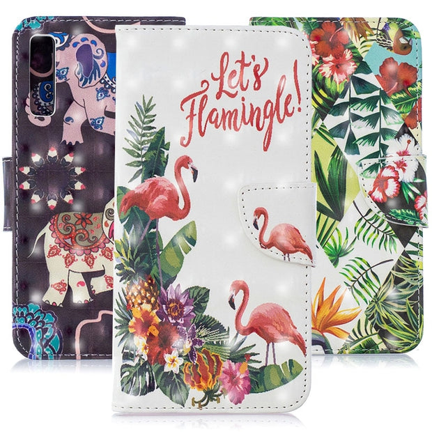 Flip PU Leather Case Card Slot Wallet Phone Cover For Samsung Galaxy A7 2018 A750 3D Painted Flowers Butterfly Cat Elephant