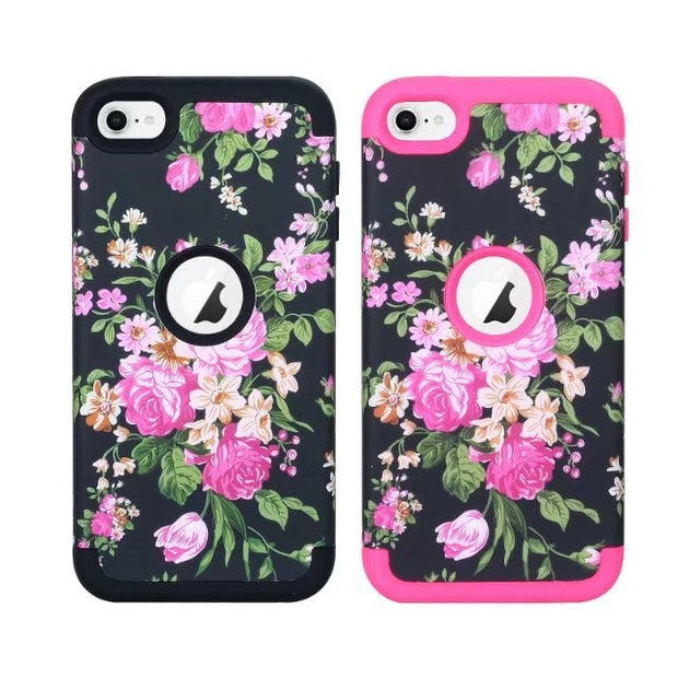 Floral Printed Shockproof 3 In 1 Hybrid Silicone & Hard Armor High Impact Case Cover For Apple Ipod Touch 6/touch 5