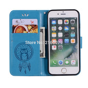 For Apple IPhone 7 8 Plus 8+ 3D Pattern Owl Luxury Flip PU Leather Case W/ Magnetic Buckle Card Insert Slots Wallet Stand Cover