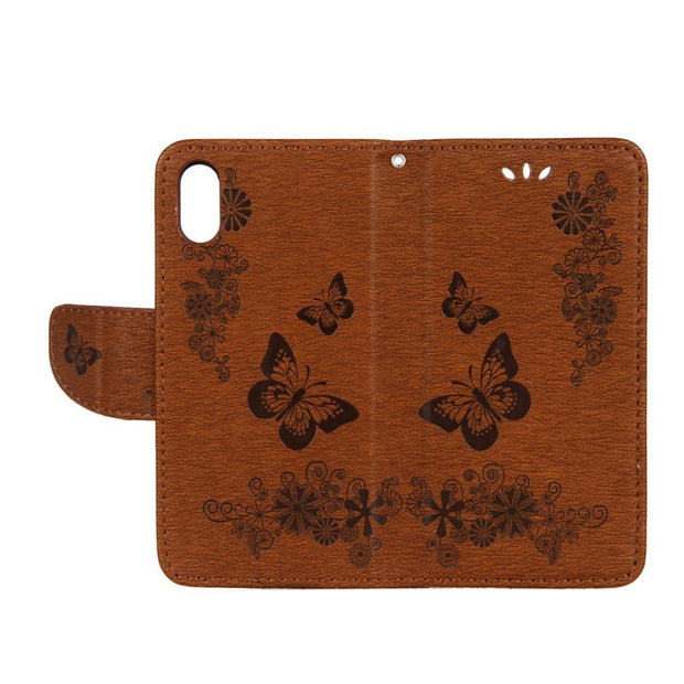 For Apple IPhone X Case Leather PU Flip Cover Embossing Flower Butterfly Wallet Book Holster For IPhone X 10 Phone Case