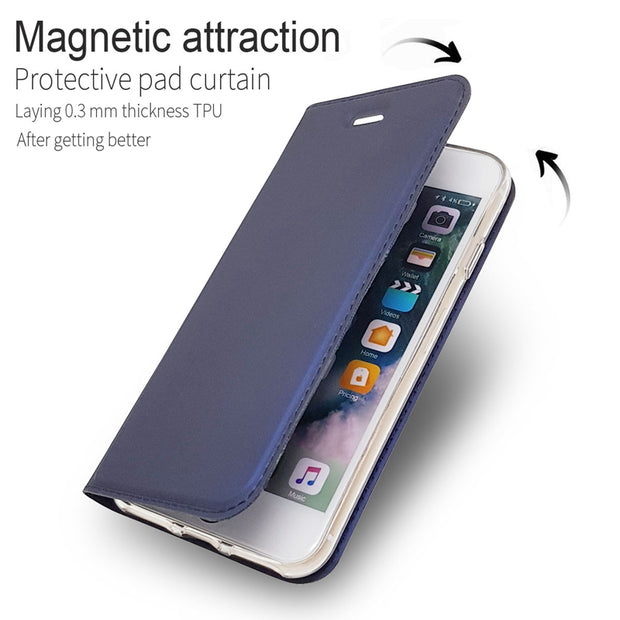 For Case Apple Iphone 6 7 8 Plus Cover Business Magnetism Flip Leather Cover For Iphone X XS XR Max Cover Phone Case