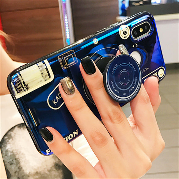 For Coque Case On Xiaomi Mi Max 3 2 Mi 8 SE Xiomi Mi Note 3 6X A2 Mix2s Cases Cover Silicone Soft Back Kickstand Shockproof Blue