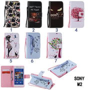 For Coque Sony Xperia M2 S50H D2302 D2303 Luxury Cartoon Pattern Flip Leather Case For Sony M2 Aqua Back Cover With Card Holder