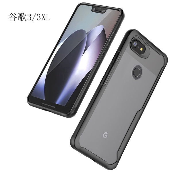 For Google Pixel 3/ 3XL Case Soft Silicone+Transparent PC Armor Protective Back Cover Case For Google Pixel 3 XL Phone Shell