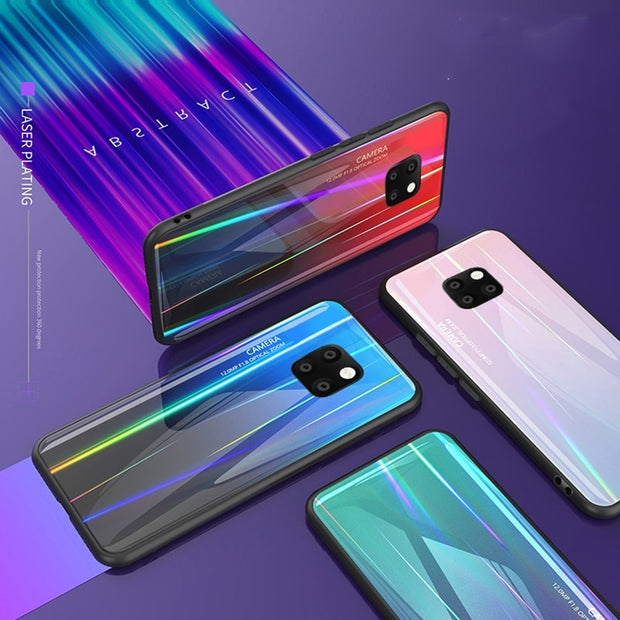 For Huawei Mate 20 Pro Case Laser Gradient Tempered Glass Soft Silicone Frame Hard Glass Cover For Huawei Mate20 Pro Case Funda