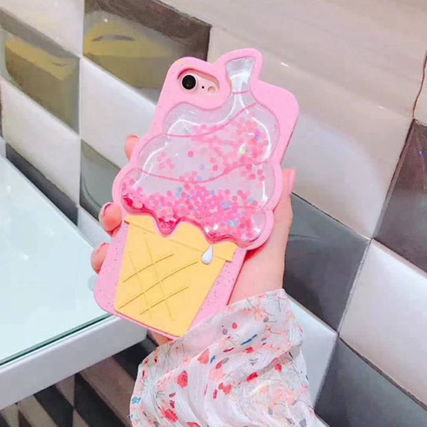 For Iphone 7 7plus 6 6s Plus Case 3D Ice Cream Flare Star Sequins Glitter Liquid Quicksand Soft Silicone Case For Iphone 8 8plus