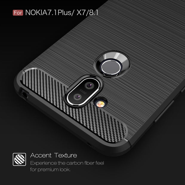 For Nokia 7.1 Plus Case Nokia 8.1 Armor Bumper Silicone Cover For Nokia 8.1 / 7.1Plus Carbon Fiber Brushed Surface Texture Case